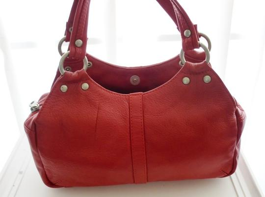 A|X Armani Exchange Leather Satchel in Red