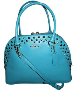 Coach Pebble Leather Studded Satchel in Turquoise