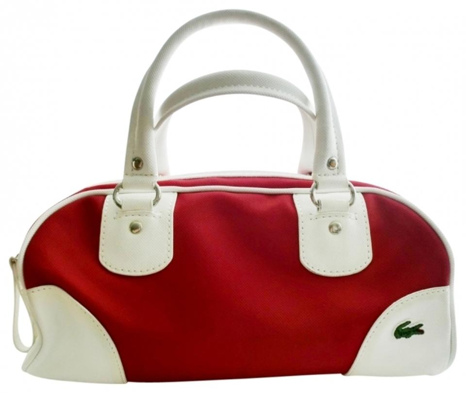 494f05f14 Lacoste Bowler Preppy Fun Causual White Satchel in Red Image 0 ...