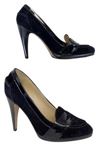 Cole Haan Black Suede Loafer Heels Pumps