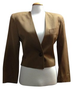 Ann Taylor Vintage One-button Closure Wool Cropped Light Brown Blazer