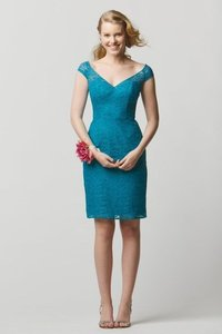 Wtoo Peacock Teal Lace 697 Bridesmaid/Mob Dress Size 10 (M)