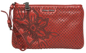Miu Miu Leather Studded Designer Wristlet in Red