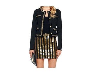 Michael Kors Denim Mini Sequin Mini Mini Skirt Black & Gold