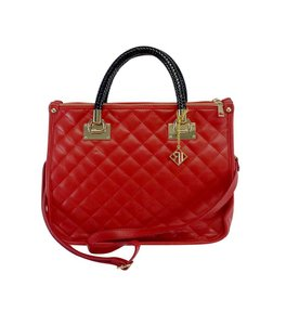 Red Quilted Leather Shoulder Bag
