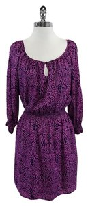 Shoshanna short dress Magenta Navy Silk Long Sleeve on Tradesy