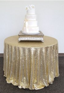 108' Round Champagne Gold Sequin Tablecloth
