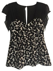 Nanette Lepore Silk Polka Dot Sweetheart Top Black White Beige