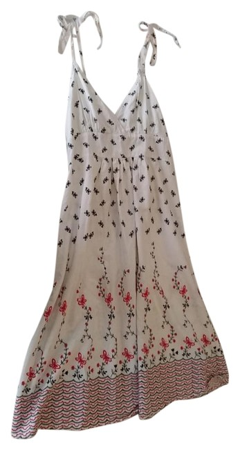 Item - White Red Black Above Knee Short Casual Dress Size 8 (M)