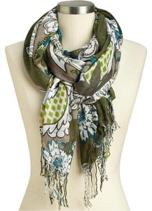 Old Navy Old Navy Womens Floral Gauze Scarf - Olive Green