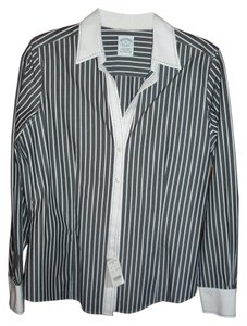 Brooks Brothers Button Down Shirt Blue gray/white stripe