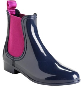 Juicy Couture Rain Ankle Rain Navy Pink Boots