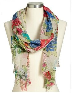 Old Navy Old Navy Womens Floral Gauze Scarf - Blue & Pink