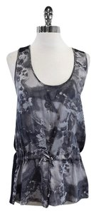 Rag & Bone Grey Silk Cotton Print Top