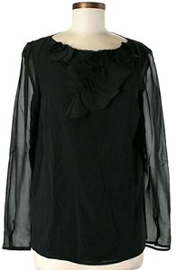 St. John Silk Ruffle Sheer Top Black