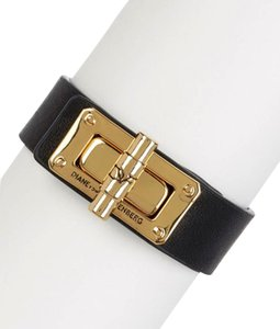 Diane von Furstenberg NWT. Black Gold Leather Latch Bracelet