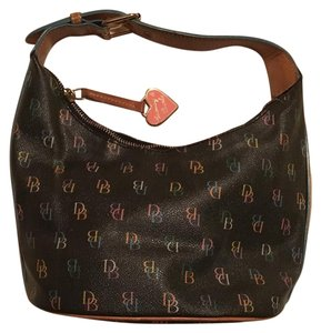 Dooney & Bourke Leather Fun Zipper Satchel in Black with colorful lettering