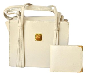 MCM Leather Wallet Tote in White