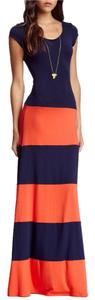 Navy and Orange Maxi Dress by Go Couture