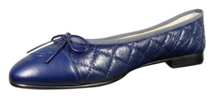 Chanel New 38/7.5 Smooth At Toe Navy Blue Flats
