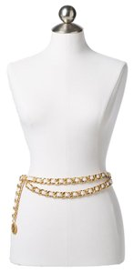 Chanel Chanel White Lambskin Double Gold Chain Belt with a Gold Medallion