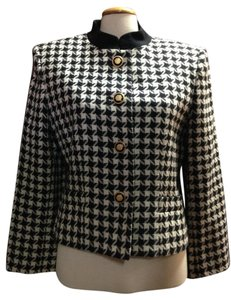 Kasper Houndstooth Mandarin Collar Black and White Blazer