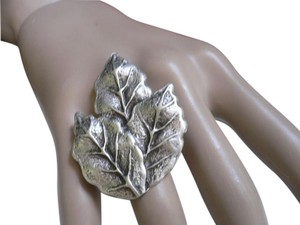 Other New Women Ring Silver Metal Fall Leaves Statement Fashion One Size