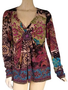 ECI New York Jersey Floral Beaded Yop Top Multi-color