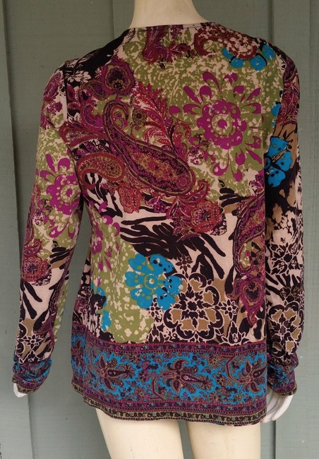 ECI New York Jersey Floral Beaded Yop Top Multi-color Image 2