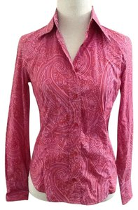 Etro Paisley Button Down Chic Top Pink