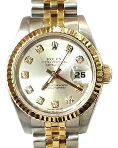 Rolex ROLEX Diamond Dial, 18K Gold and Stainless Steel Gently Used Ladies Watch 6.75""