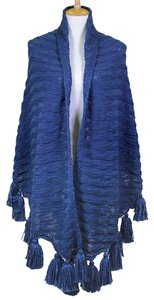 Navy Tassel Accent Large Sweater Shawl Wrap Cape Poncho