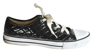 Dolce&Gabbana Patent Leather Quilted Black and White Athletic