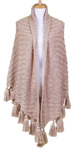 Other Pink Blush Tassel Accent Large Sweater Shawl Wrap Cape Poncho