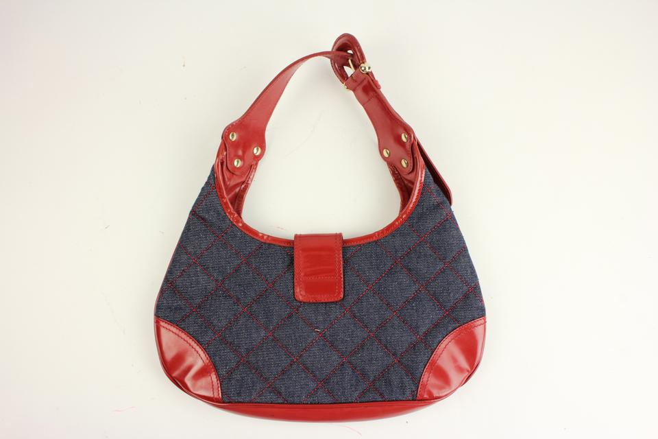 efd48d86cf69 Burberry Quilted Denim Hobo 21bur817 Blue X Red Patent Leather Shoulder Bag  - Tradesy