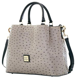 Dooney & Bourke Barlow Grey Ostrich Leather Satchel in Gray/Grey