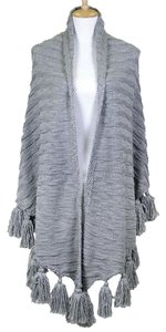 Other Gray Tassel Accent Large Sweater Shawl Wrap Cape Poncho