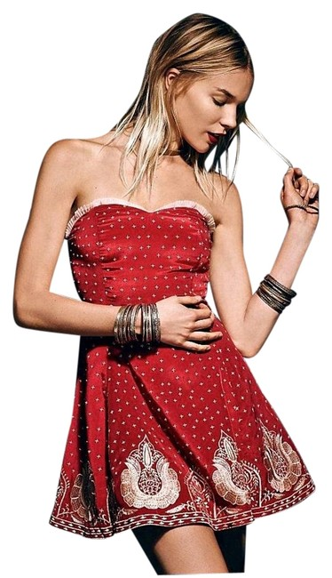 Free People Strapless Size Zip Closure Back Keyhole Gold Embroidery Bandeau Neck Dress Image 3