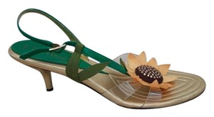 J. Renee Floral Leather Slingback Yellow, Gold, Green Sandals