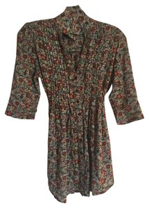 Blue Bird V-neck Floral Tunic