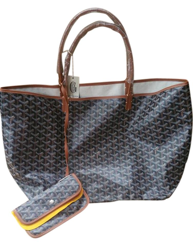 605d316d0399 Goyard Saint Louis Gm W  Black and Tan Goyardine Coated Canvas with Leather  Handles Tote