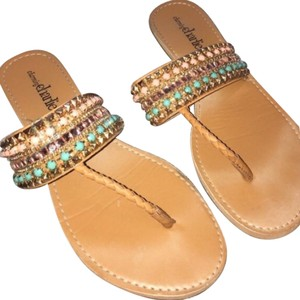 Charming Charlie Tan, pink, teal, gold! Sandals