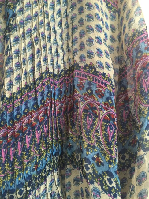 Gibson Silk Print Top Blue Pink Purple Yellow Red Beige Image 2