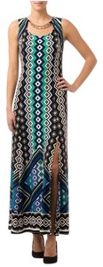 Black/Blue/White Maxi Dress by Joseph Ribkoff