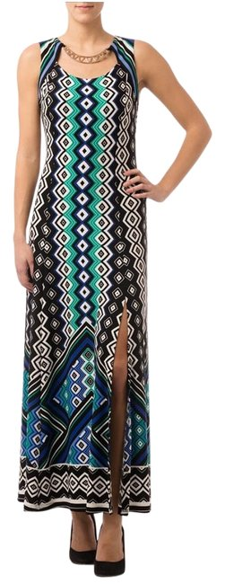Joseph Ribkoff Black/Blue/White 162694 Long Casual Maxi Dress Size 6 (S) Joseph Ribkoff Black/Blue/White 162694 Long Casual Maxi Dress Size 6 (S) Image 1