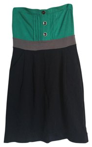 Ric Rac short dress Navy Grey Teal Strapless Comfortable Color-blocking on Tradesy