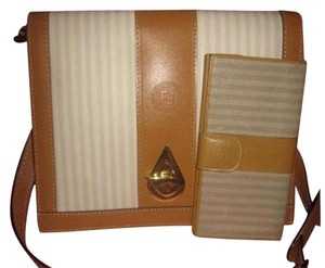 Fendi Design Two-way Style Clutch/Cb/Shoulder Ivory/Camel/Taupe Excellent Vintage Shoulder Bag
