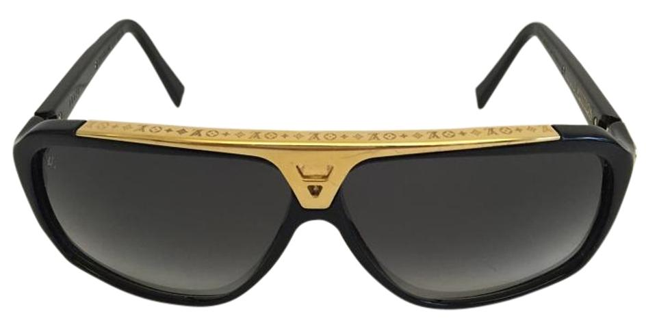 bcba114c6d5ce Louis Vuitton Black and Gold Evidence Sunglasses - Tradesy