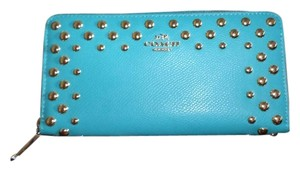 Coach Studded Leather Monogram TURQUOISE Clutch