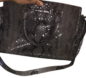 Michael Kors Python Snakeskin Leather Satchel in Pearl Grey